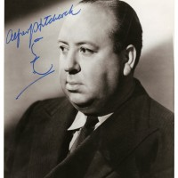 Alfred Hitchcock Photograph Signed with Hand drawn Self caricature by Hitchcock 200x200 Products Page