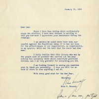 John F Kennedy Typed Letter Signed with Handwritten Postscript 1953 200x200 Products Page