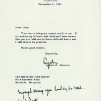 Lyndon B Johnson Rare Typed Letter Signed as President Kennedy Assassination 200x200 Products Page