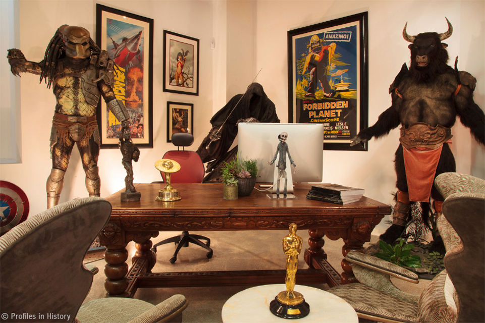 Photo of President and CEO Joe Maddalena's Office, with movie posters, an Oscar and other film memorabilia
