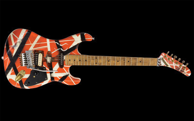 Orange, Black and White Electric Guitar