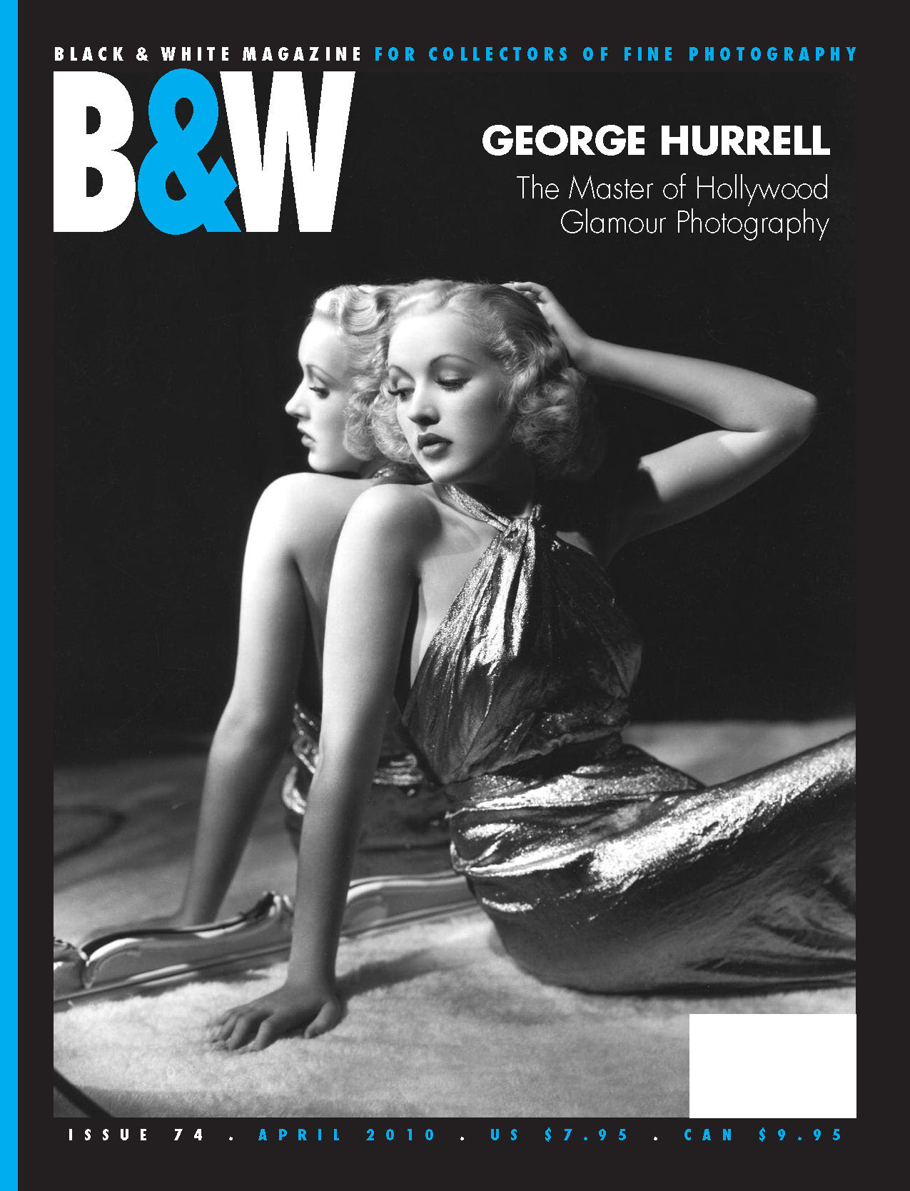 B&W cover george hurrel the master of hollywood glamour. blonde women leaning against glass with nice dress in black and white