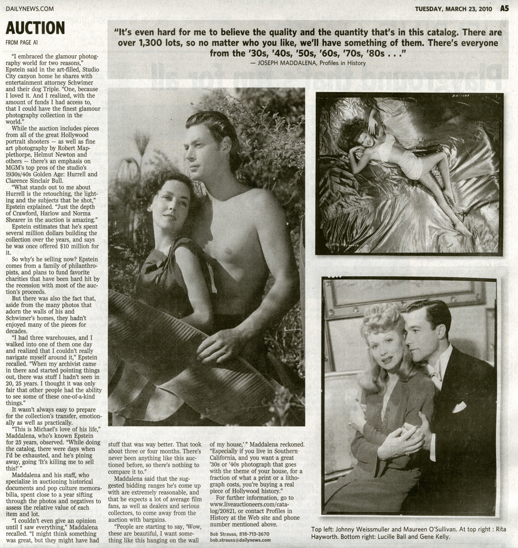 daily news article, auction. black and white photos of man and women in a jungle and a man and women embracing and a women laying across silk sheets