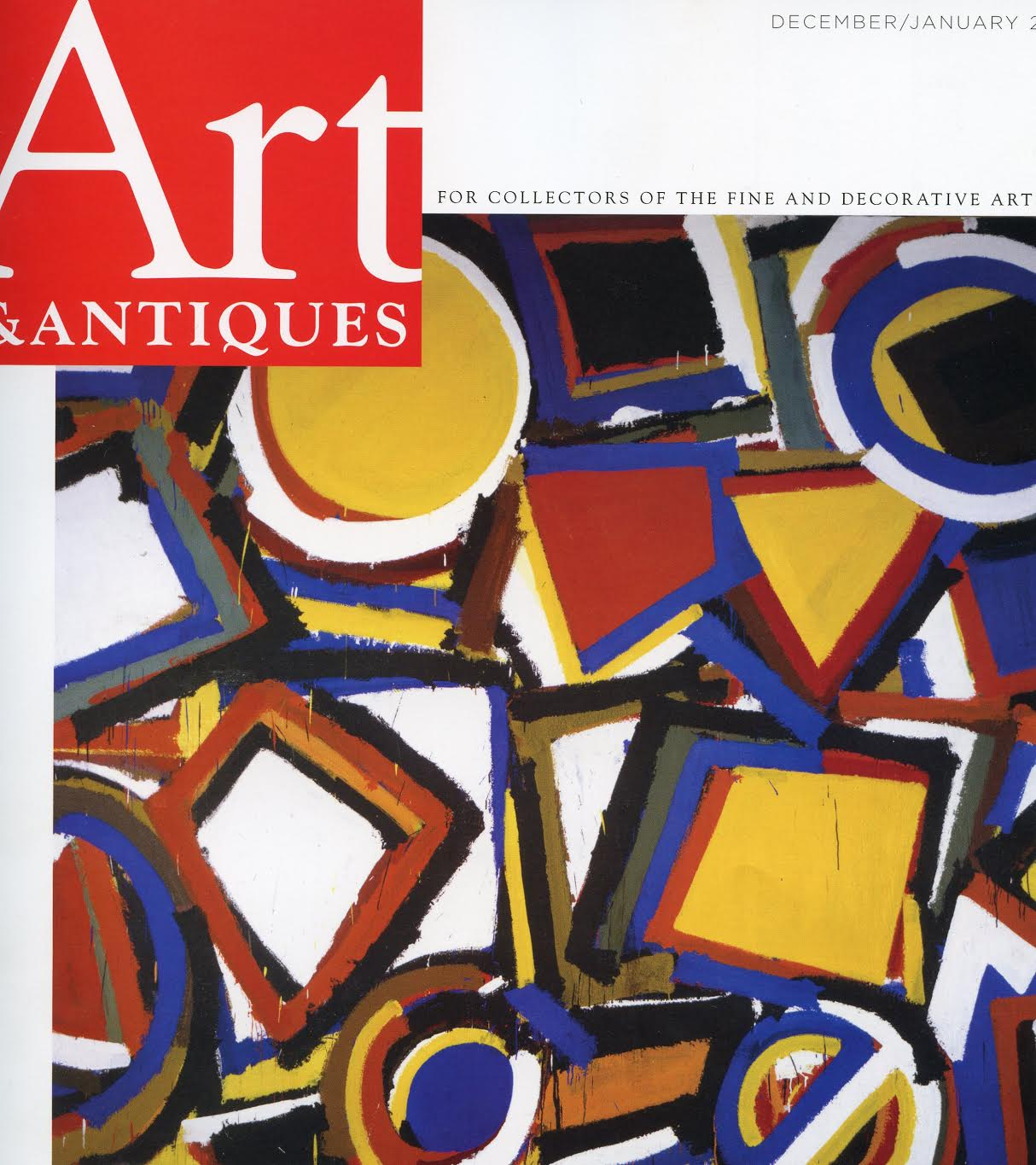 Art Antiques magazine cover with lost of colorful shapes