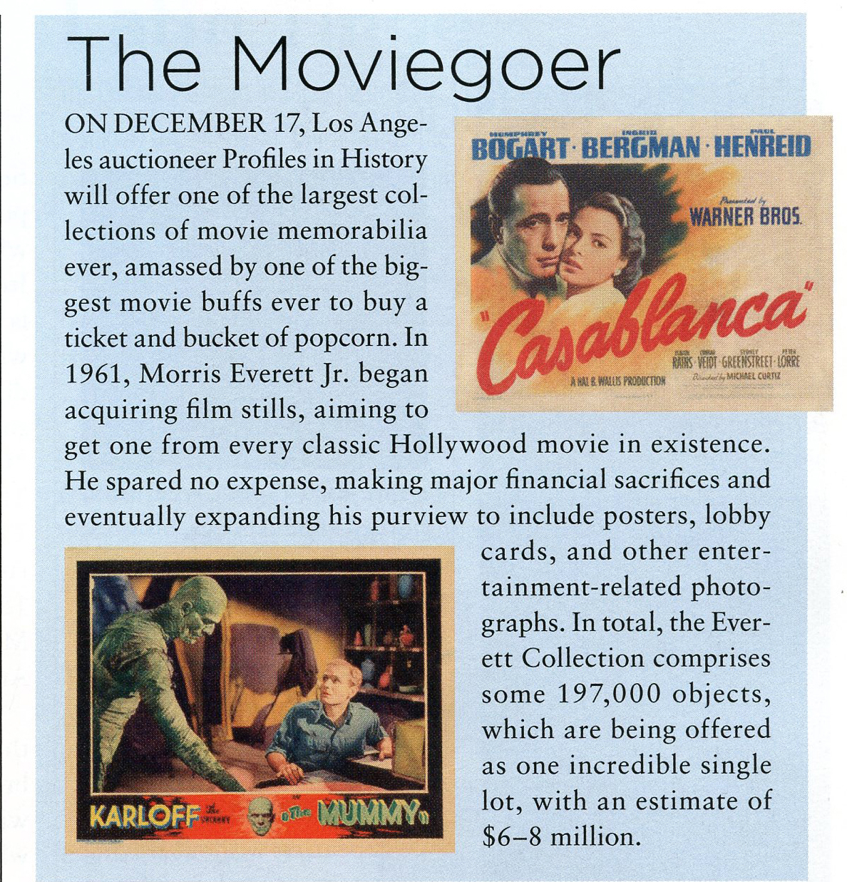 art antique article about the moviegoer, two photos of old casablanca poster and karloff the mummy poster