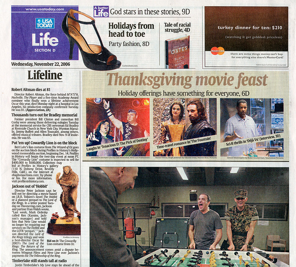 life usa today article, lifeline thanksgiving movie feast