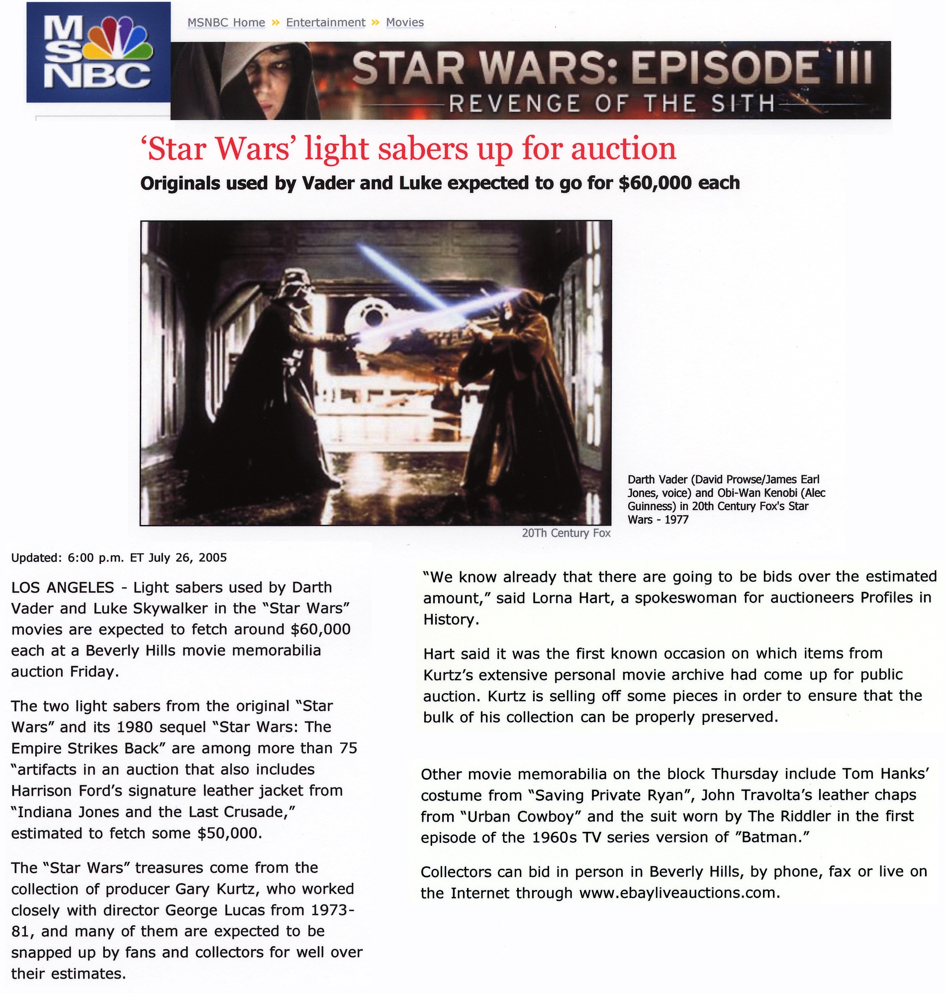 msnbc online article regarding star wars and light saber up for aution