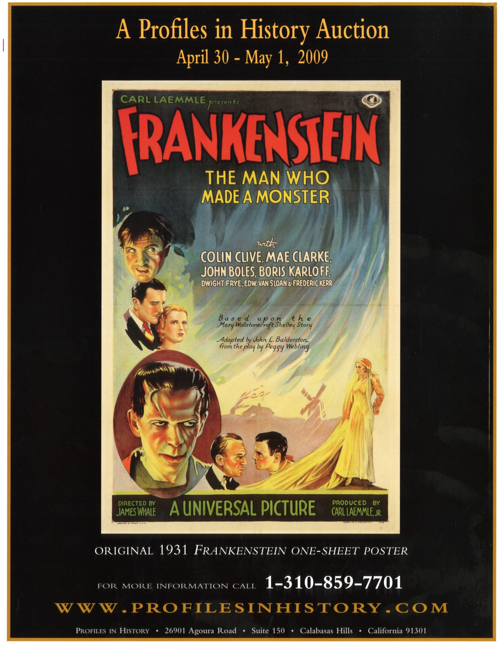 profiles in history article with photo of the old frankenstein poster by universal picture