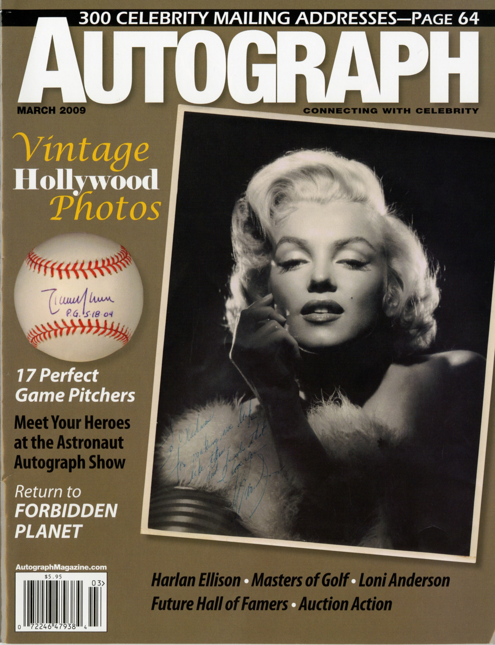 autograph magazine cover with vintage hollywood photos, a black and white photo of marilyn monroe and a signed baseball