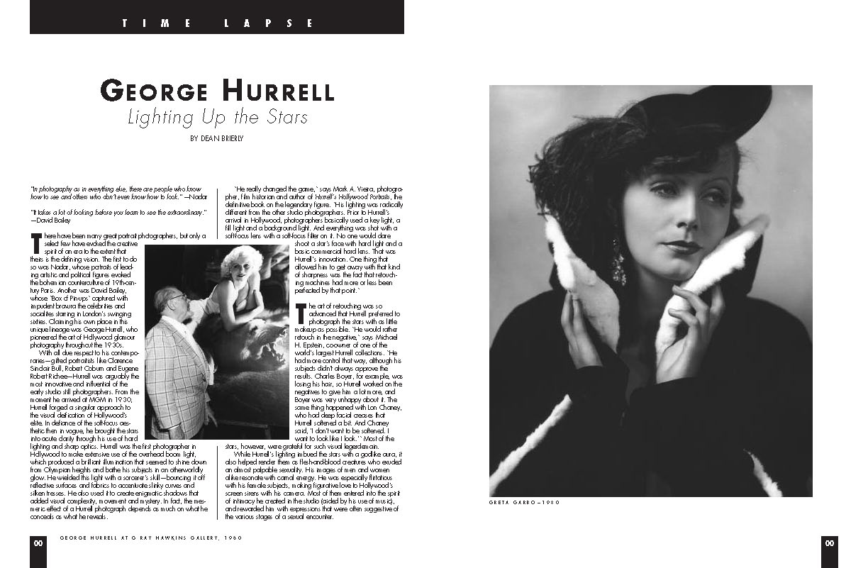 BW Hurrell article snip it lighting up the stars. black and white photos of famous actors