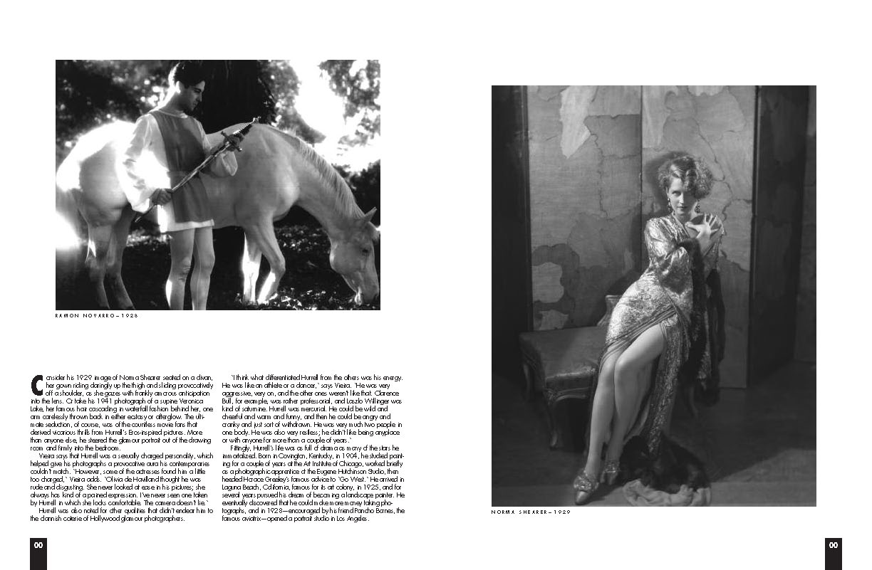 BW Hurrell article snip it with two black and white photos of vintage movies, man with white horse and women leaning against a wall