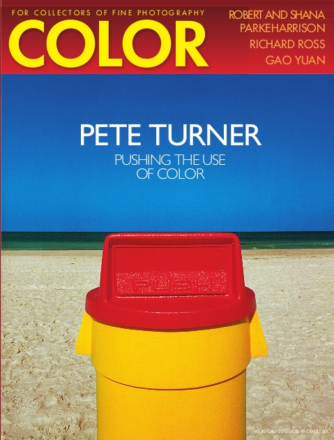 color magazine, pete turner pushing the use of color and photo of a yellow and red trash can on the beach