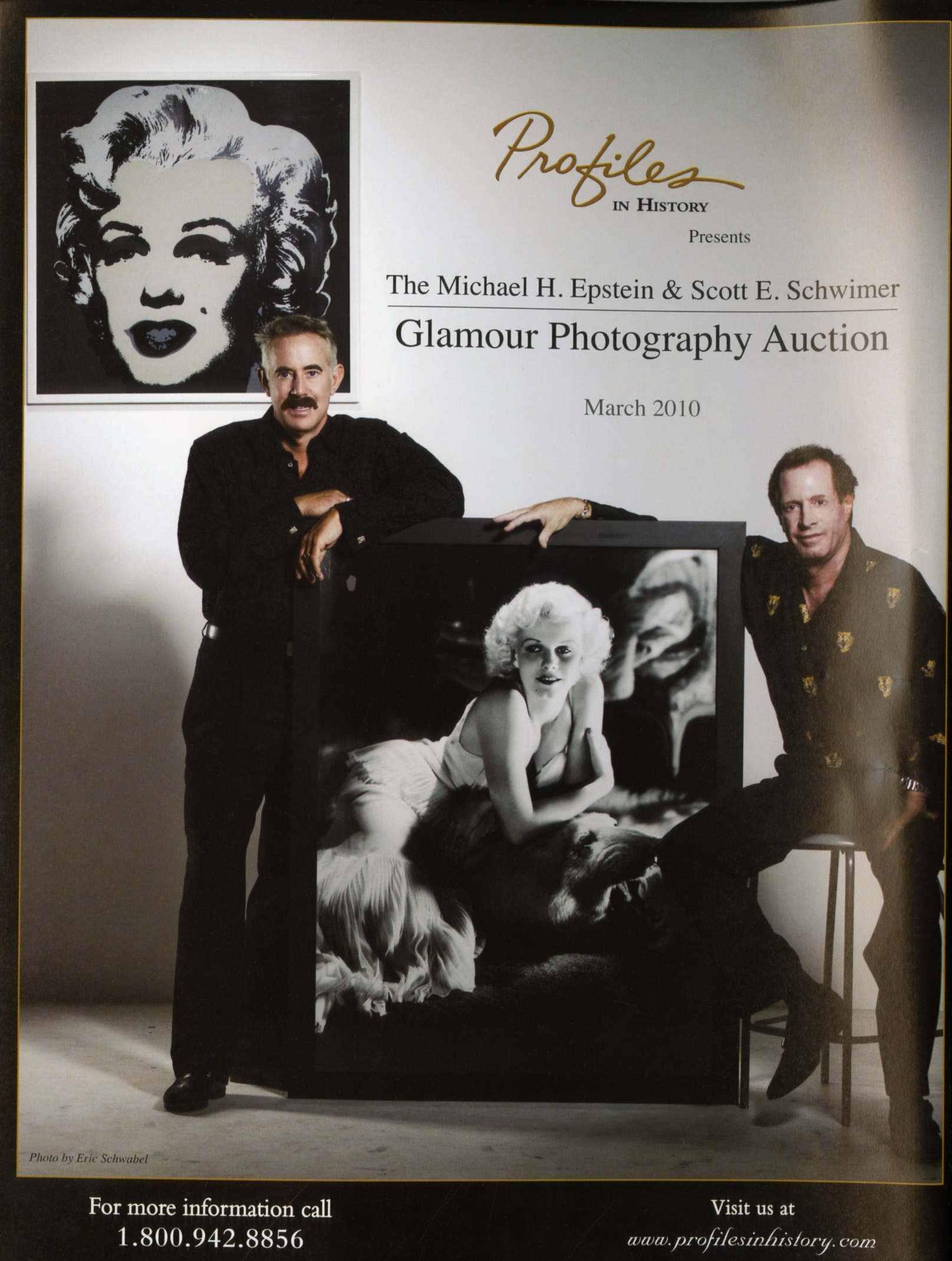 magazine snipit with profiles in history. photo of michael h epstein and scott e schwimer holding up a marilyn monroe photo