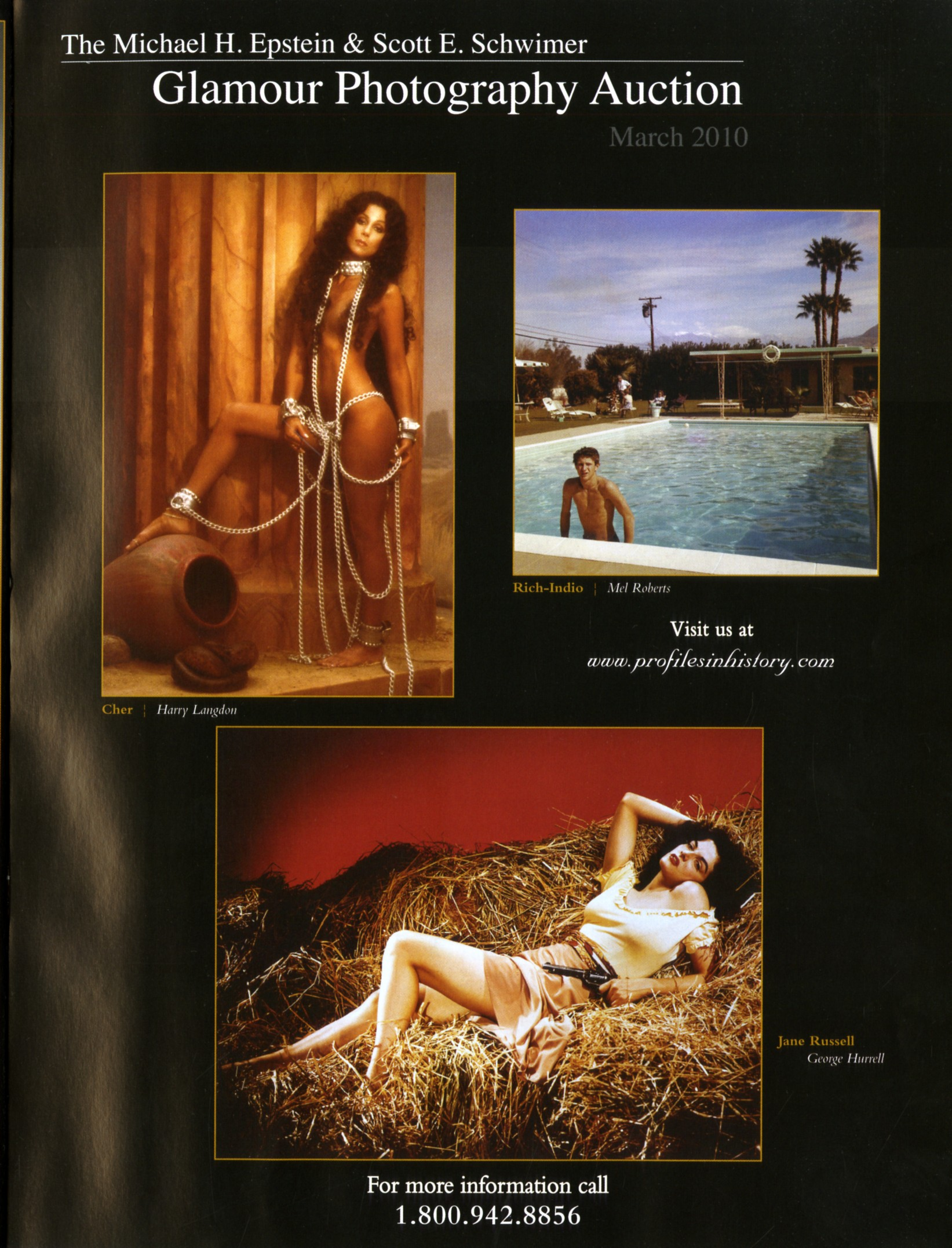 glamour magazine photograph snip it with photo of cher on the cover, man in pool and woman laying in hay