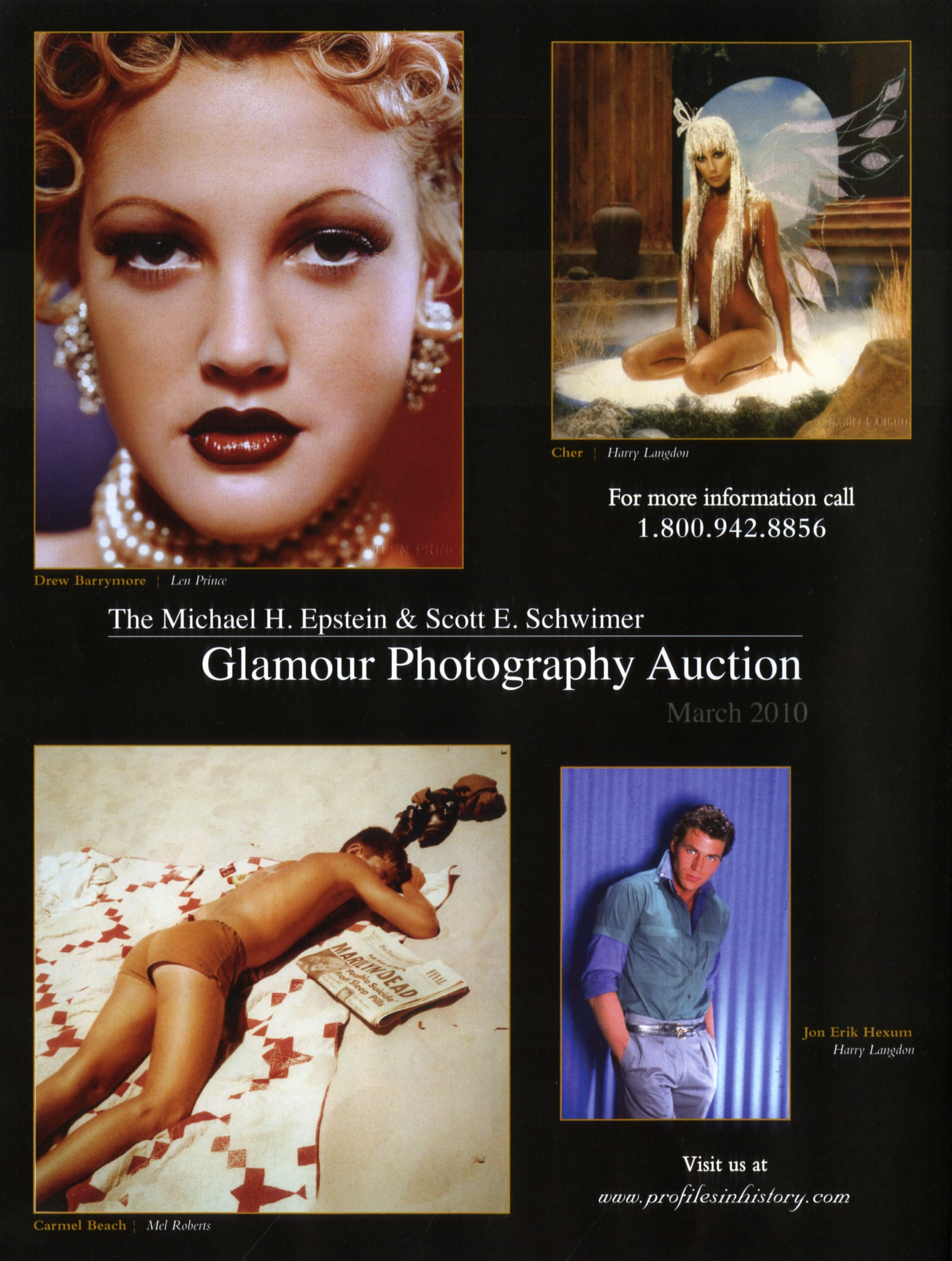 magazine snip it, glamour photography auction, photo of drew barrymore, cher on the cover
