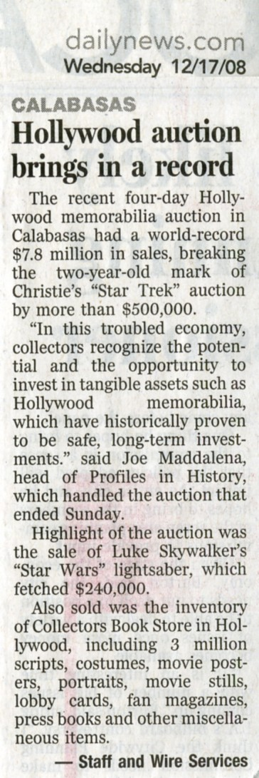 daily news snip it, calabasas hollywood auction brings in a record