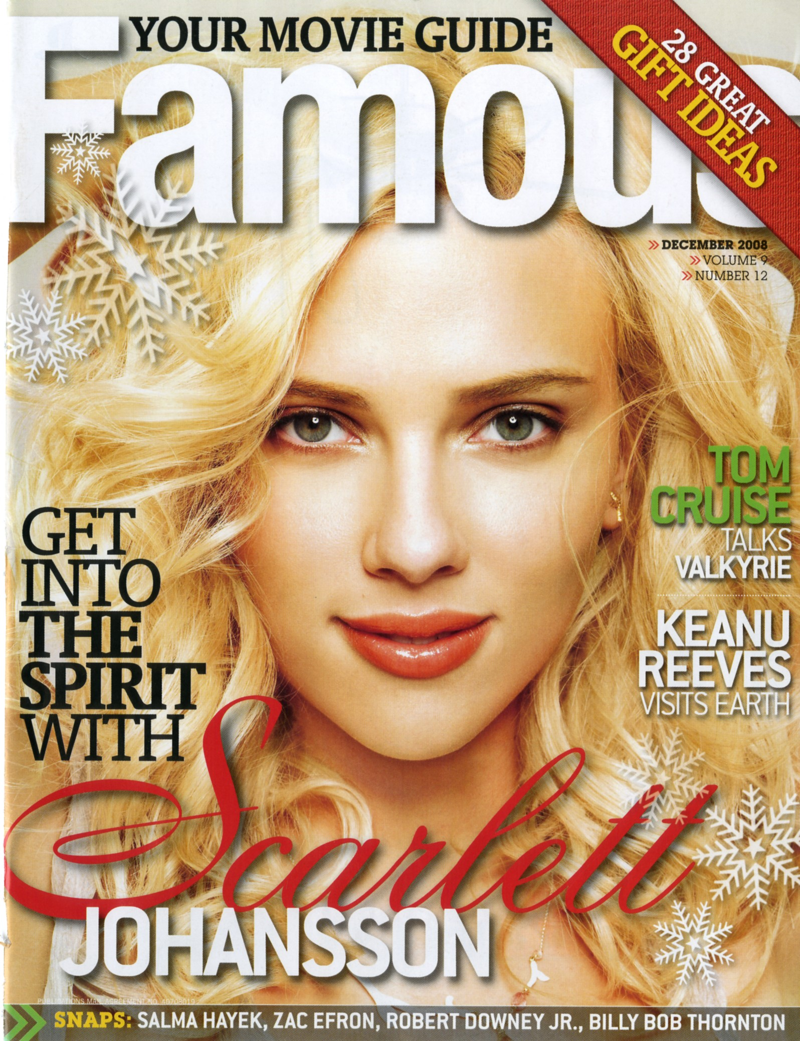 famous magazine cover with a photo of scarlett johansson on the cover