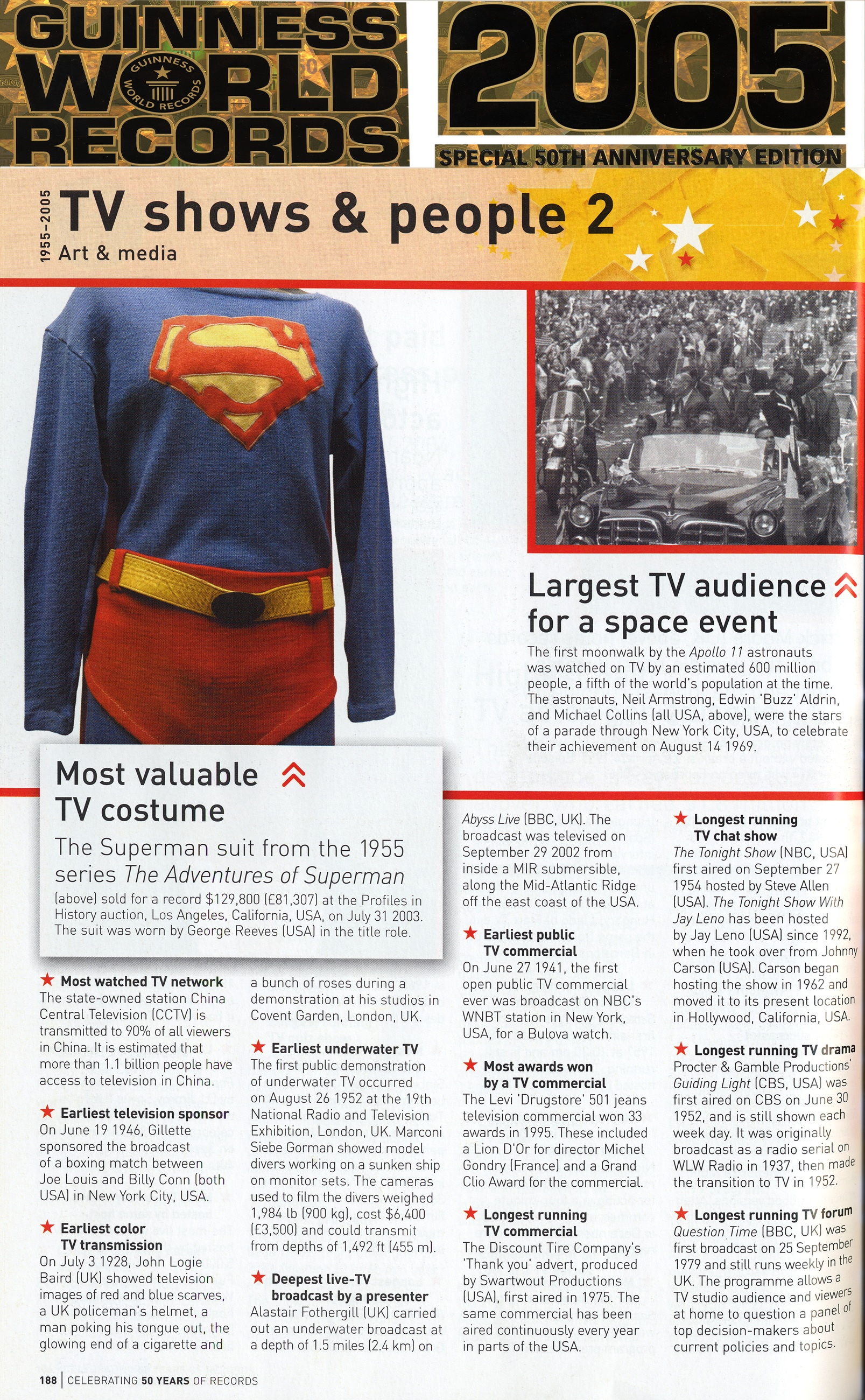 guinness world records tv shows and people 2, a photo of supermans costume and a photo of the largest tv audience for a space event
