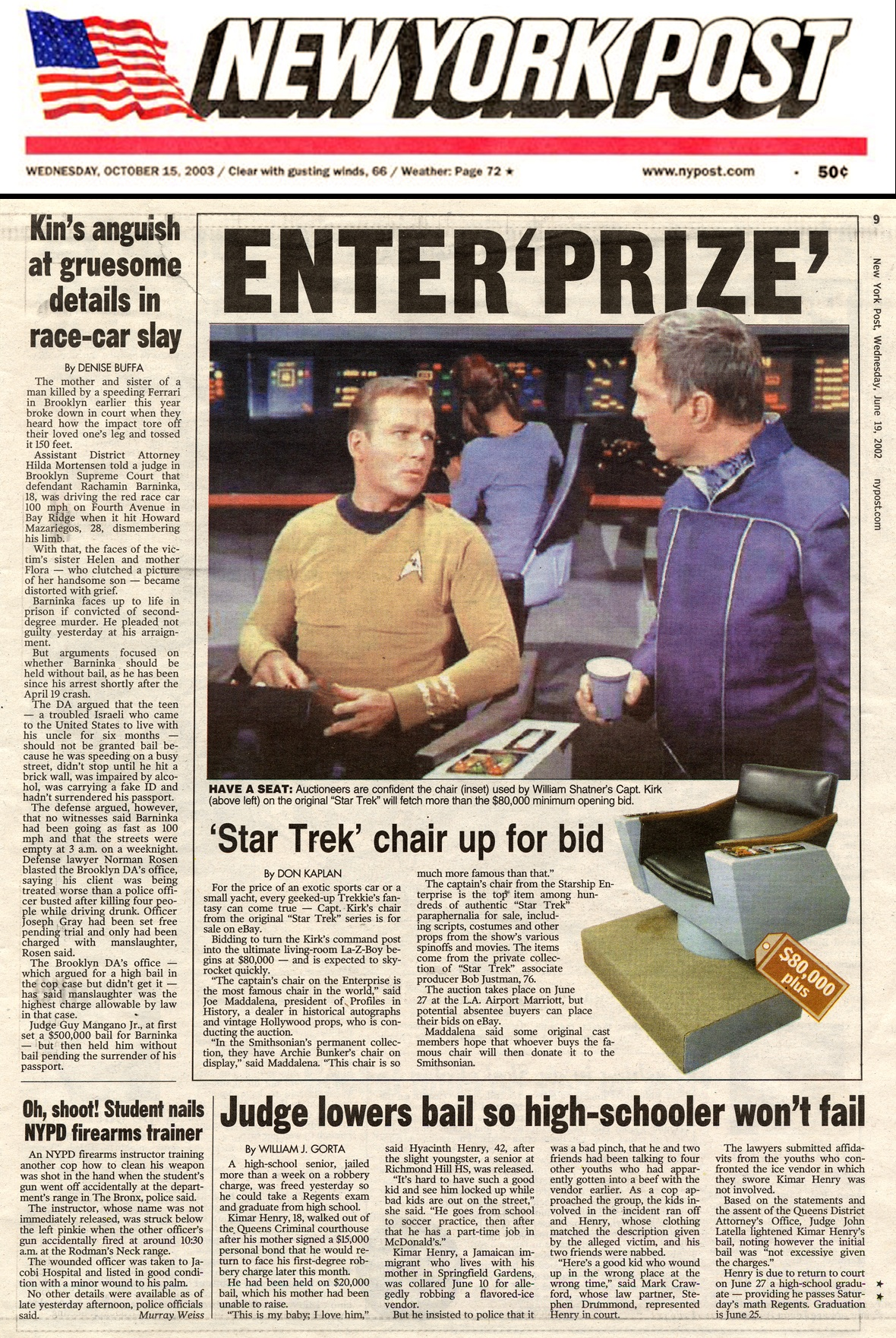 new york post snip it, star trek chair up for bid, photo of captain kirk old and young on the cover