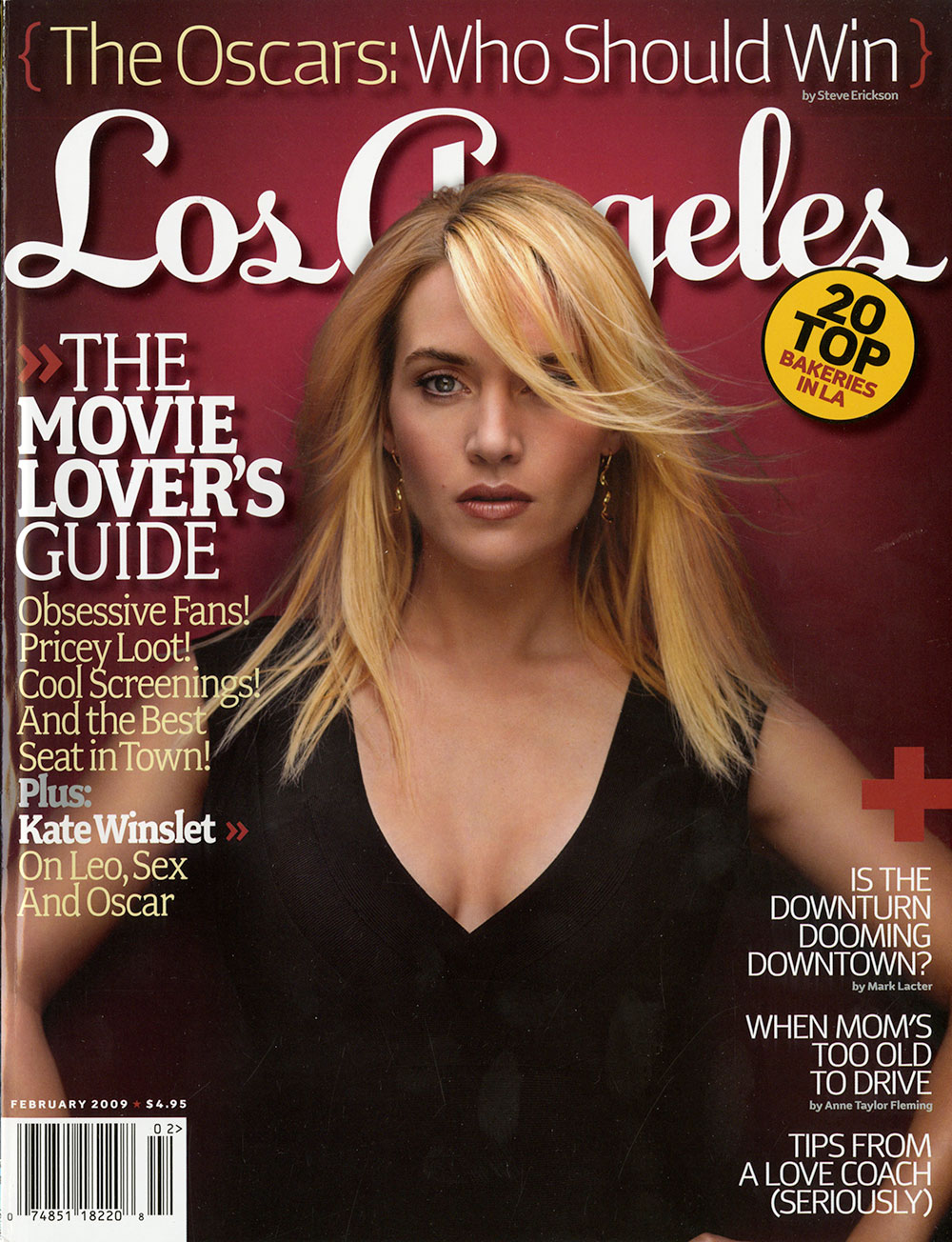 los angeles magazine cover with red background and kate winslet on the cover in a black dress