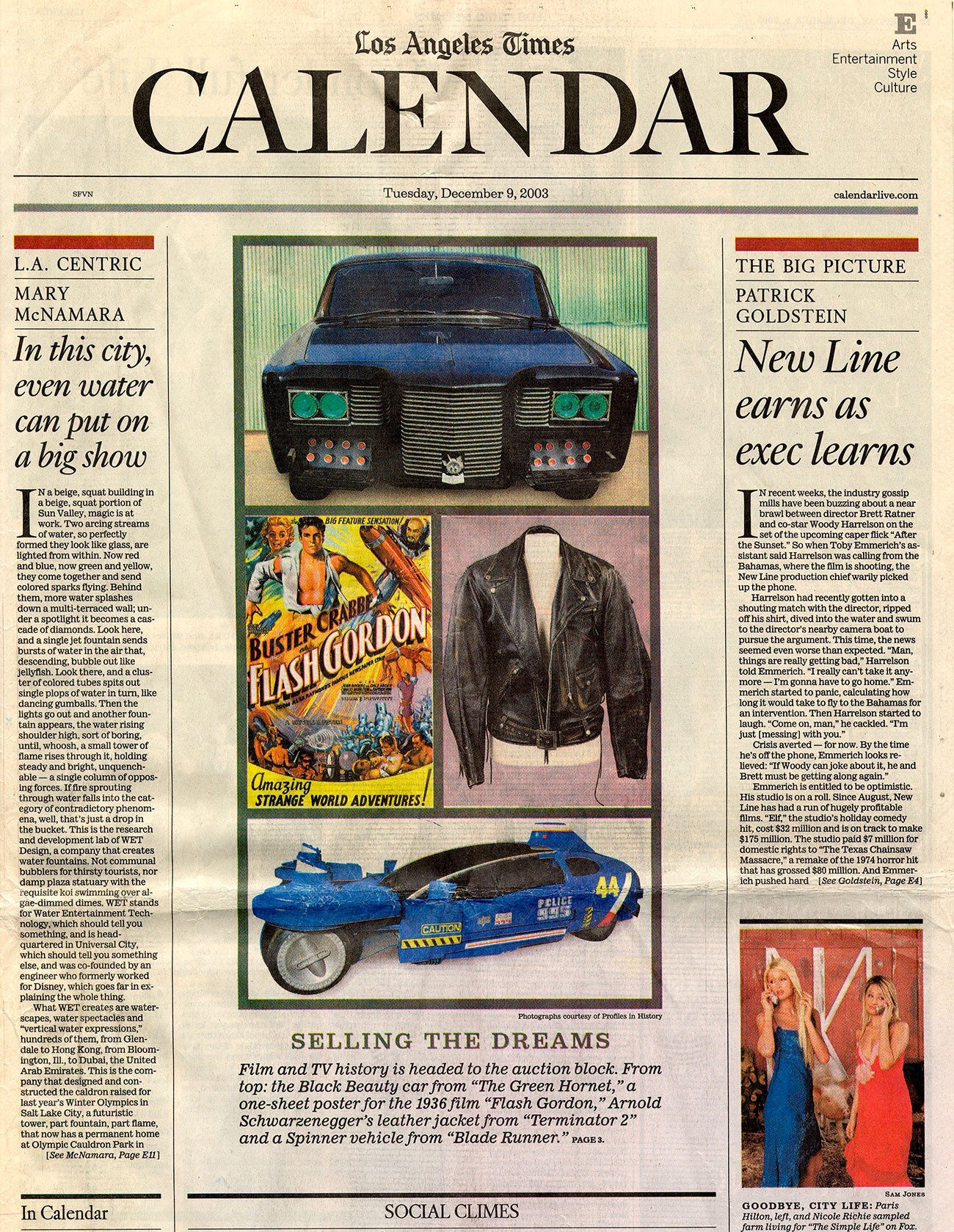 la times calendar, selling the dreams, photo of flash gorden, the green hornet, jacket from terminator 2, a blue vehicle from blade runner