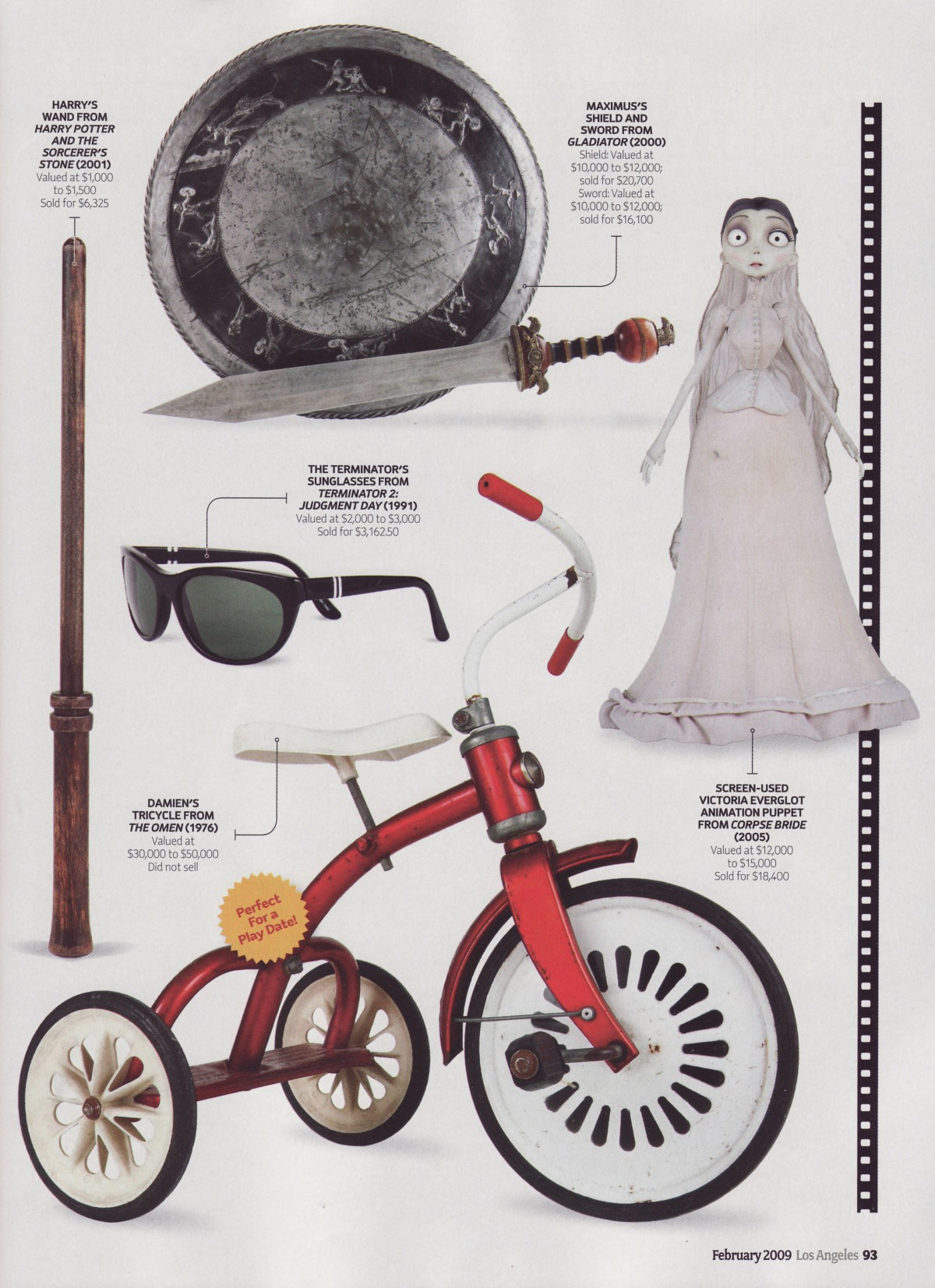 los angeles magazine, a shield and sword, a tricycle, the terminators sunglasses, corpse bride figurine and harry potters wand