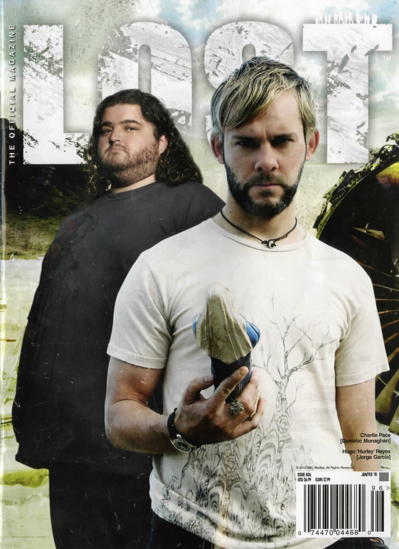 lost the official magazine cover, with hurley and man holding a virgin mary figurine