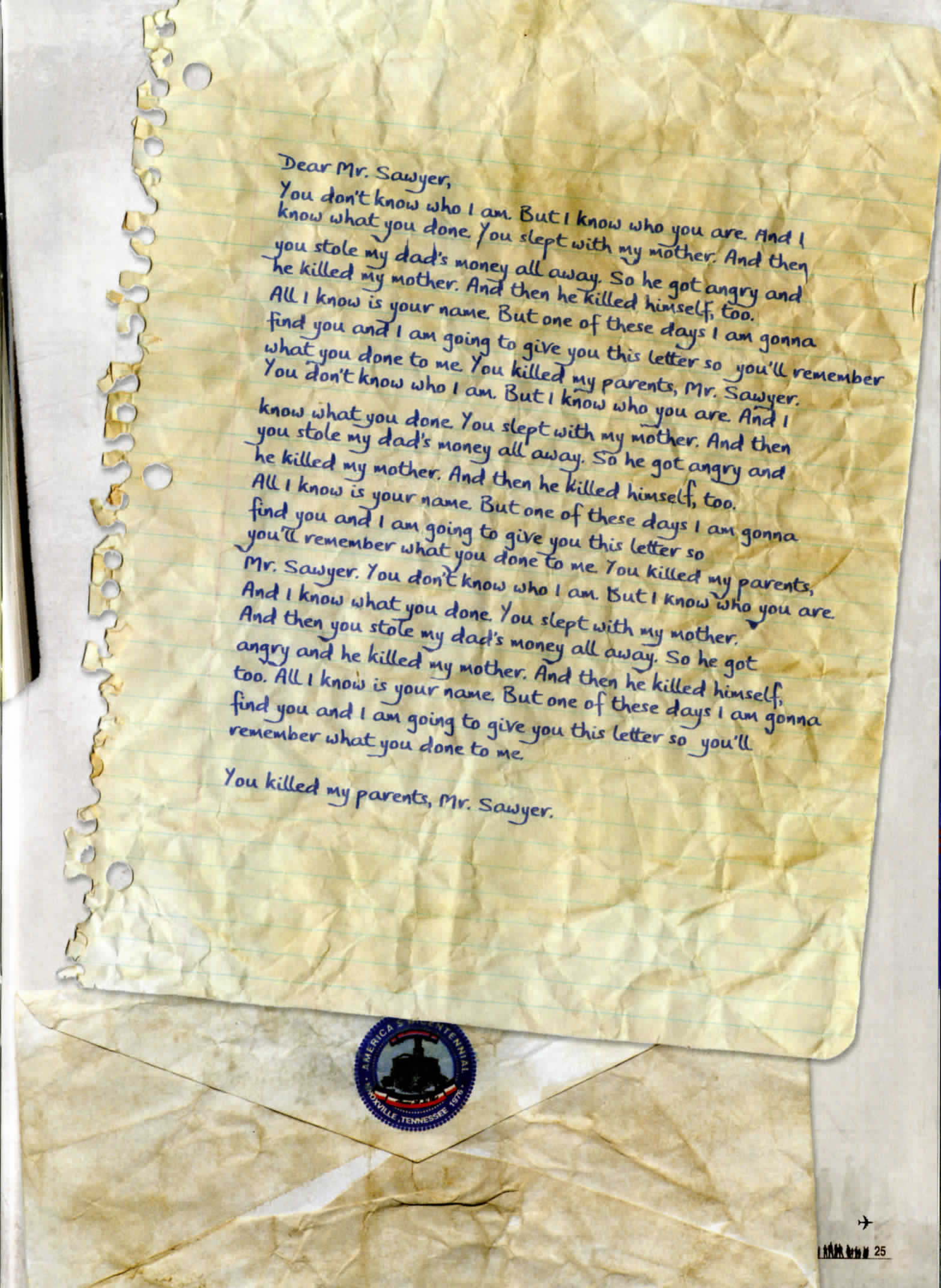 "lost the official magazine, with a picture of letter from lost. ""Dear Mr Sawyer, you don't know who i am. But I know who you are..."""