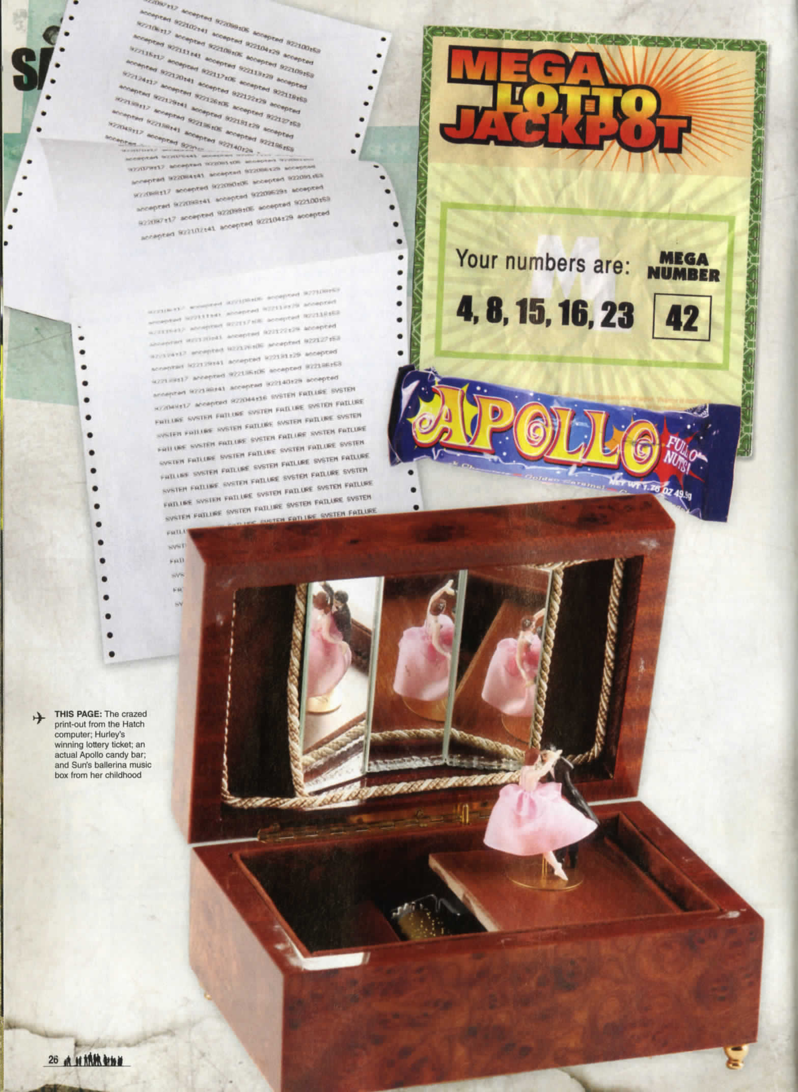 lost the official magazine snip it with a small brown music box with a small ballerina in a pink tutu reflected in a mirror