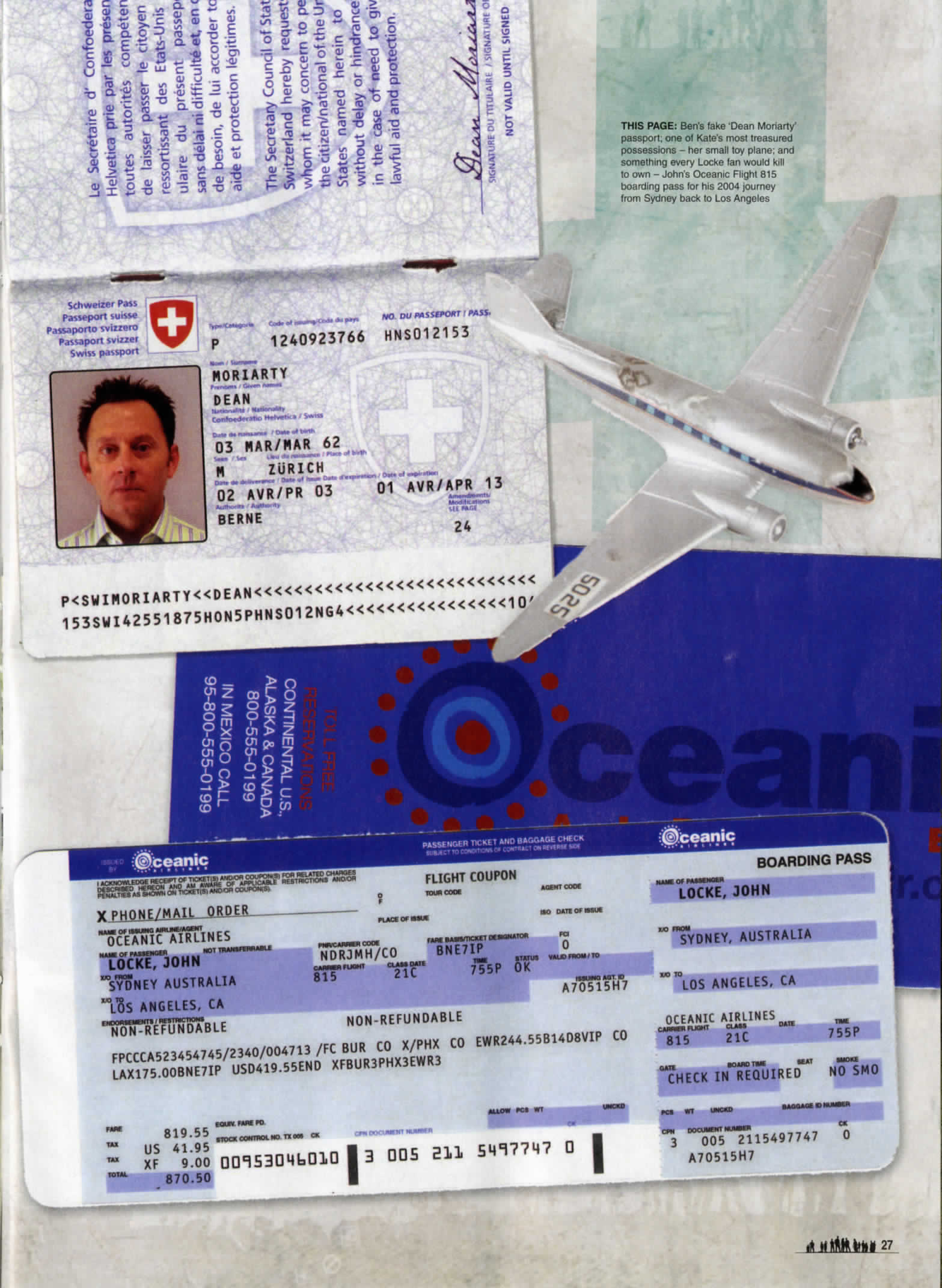 magazine article, lost the official magazine with pictures of Oceanic flight ticket and a picture of a small white airplane