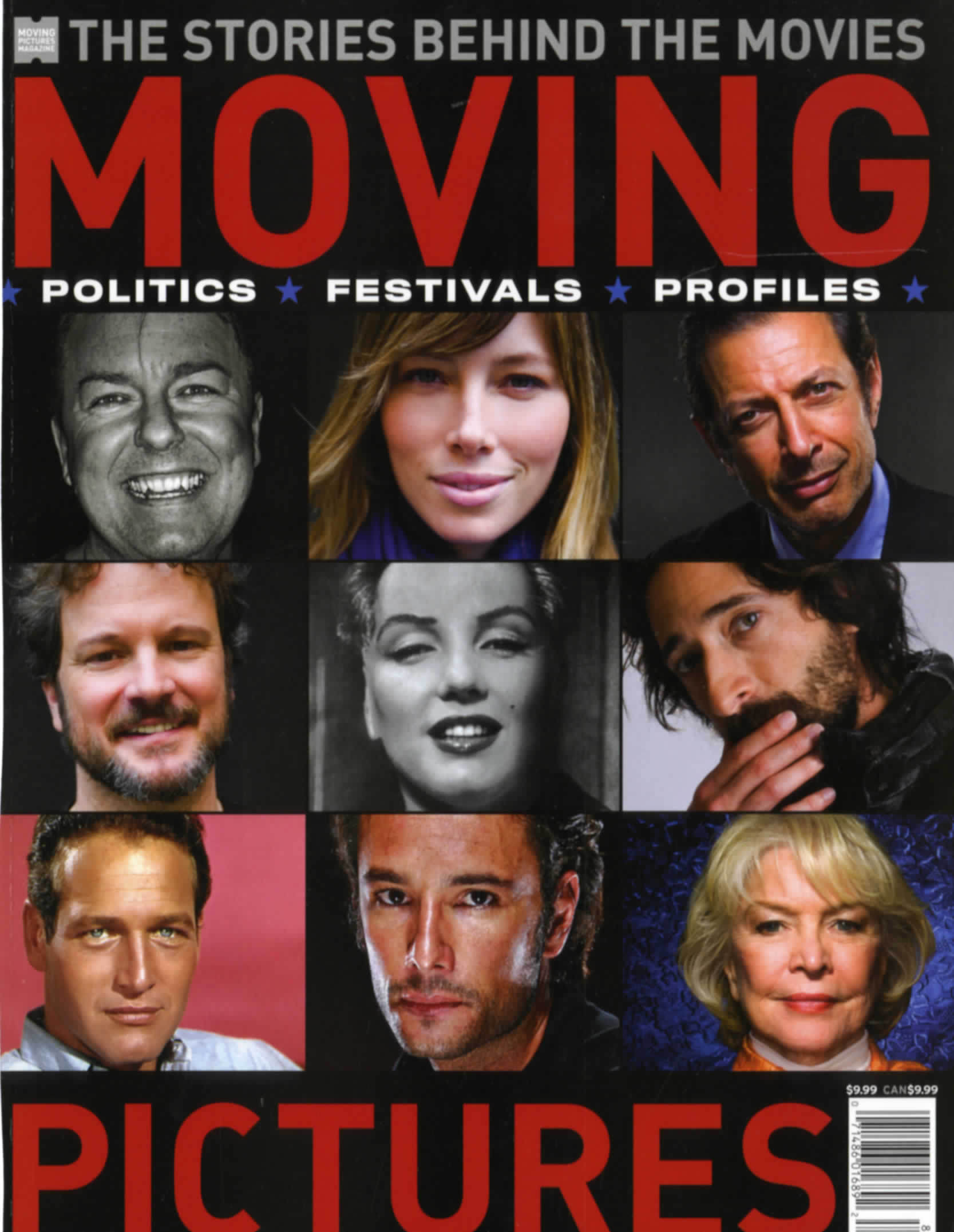 magazine cover, the stories behind moving pictures with the faces of nine famous actors on the cover