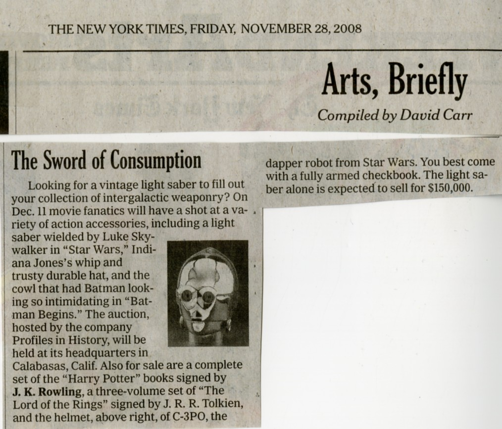 new york times newspaper snip it about the Sword of Consumption, looking for a vintage light saber