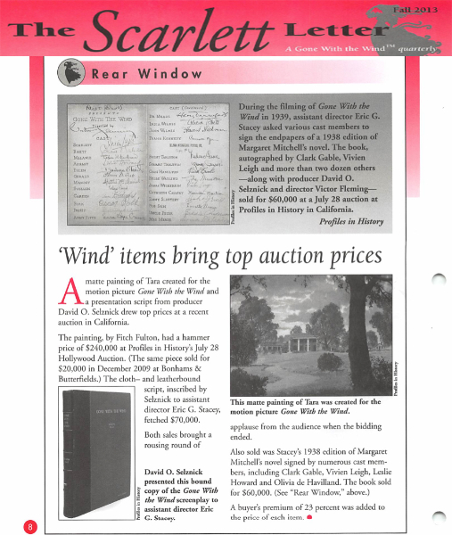 magazine article, the scarlett letter, rear window and wind items bring top auction prices.