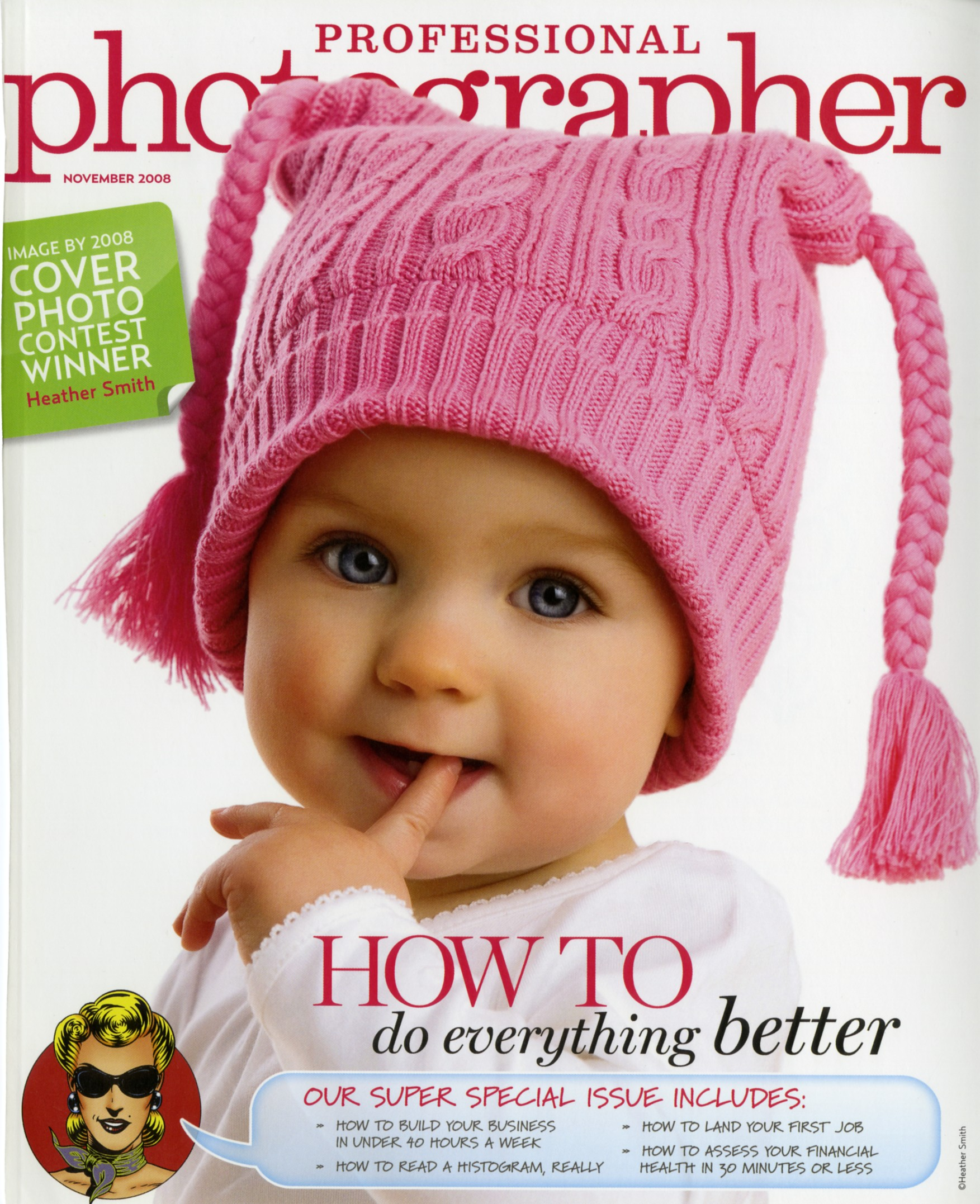 little baby girl on the cover with a pink beanie