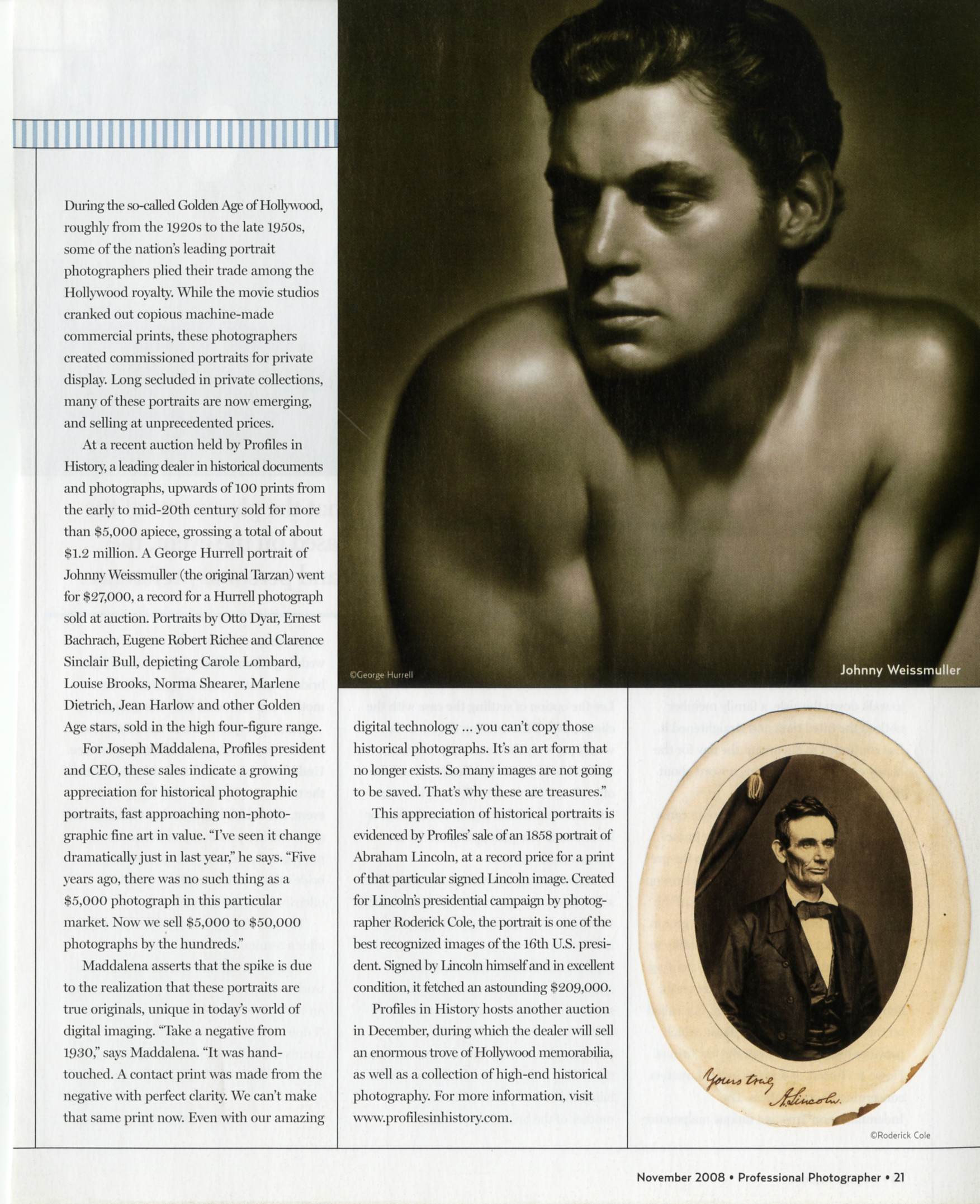 magazine article with a shirtless man in black and white and an old photo of abraham lincoln