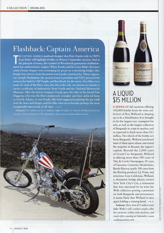 Rob Report Article Flashback: Captain America and a motorcycle and a liquid $15 million dollars with two wine bottles