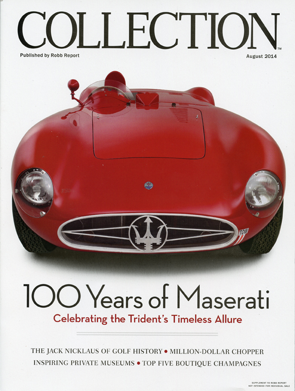 Rob Report article, with red maserati on cover, 100 years of maserati celebrating the trident's timeless allure