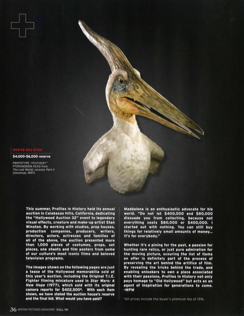 magazine article with a prototype of feathered prehistoric bird