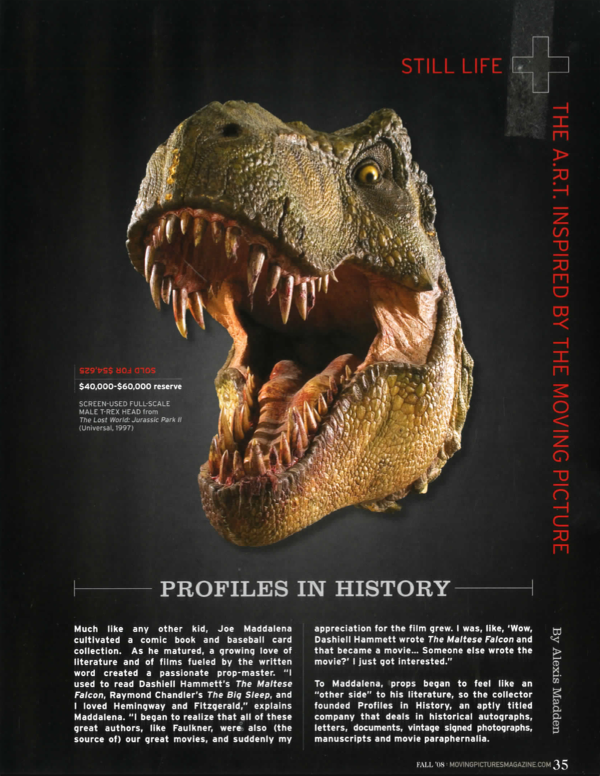 magazine article with a TRex on the cover and small article profiles in history