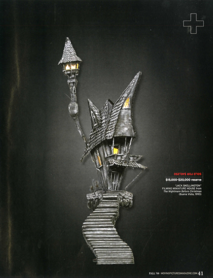 magazine article with a black background and a curvy staircase leading up to an old grey wooden house. Jack Skellington's house
