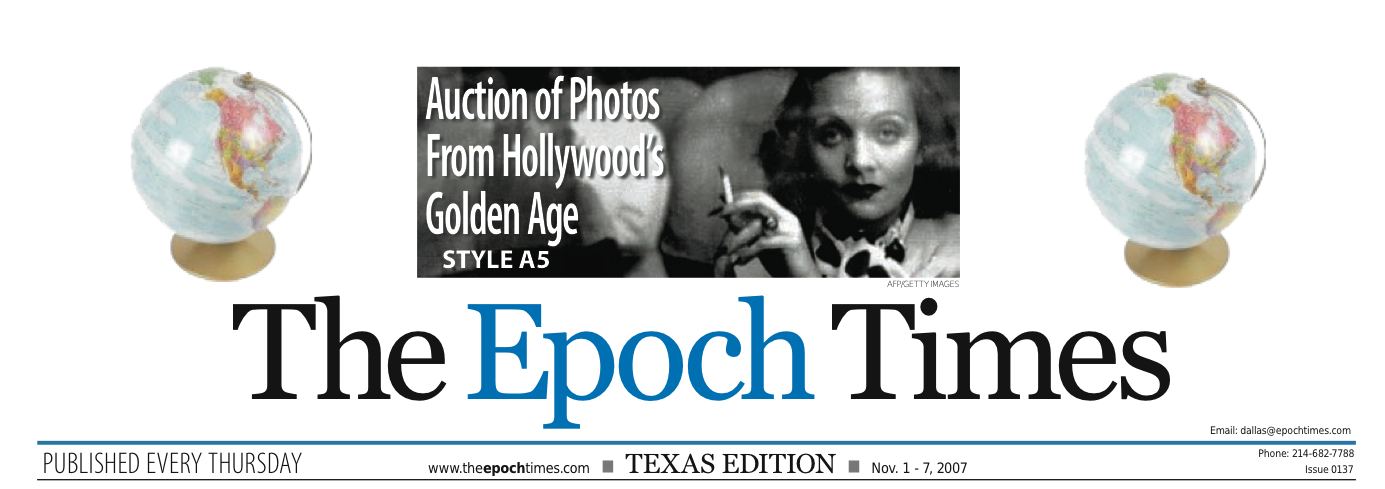 Magazine title, The Epoch Times, auction of photos from hollywoods golden age