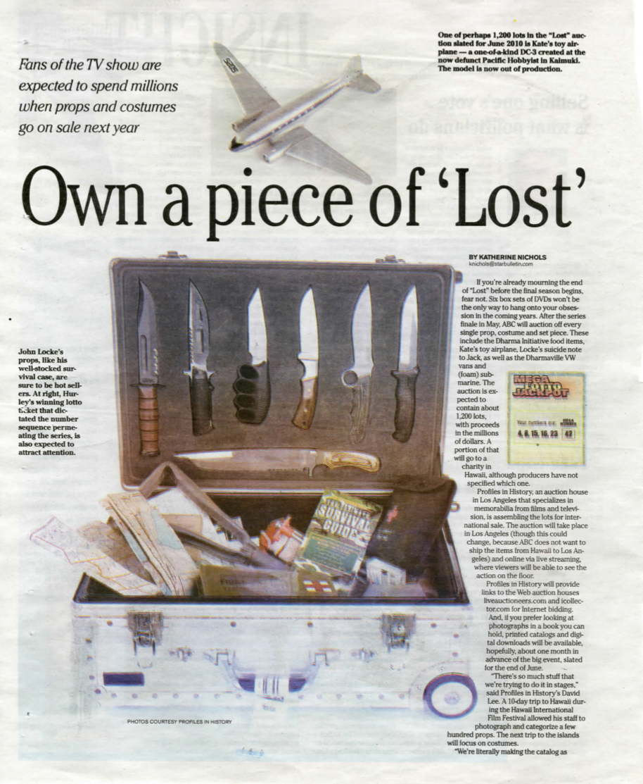 magazine article, own a piece of 'lost', a box with knives and a map