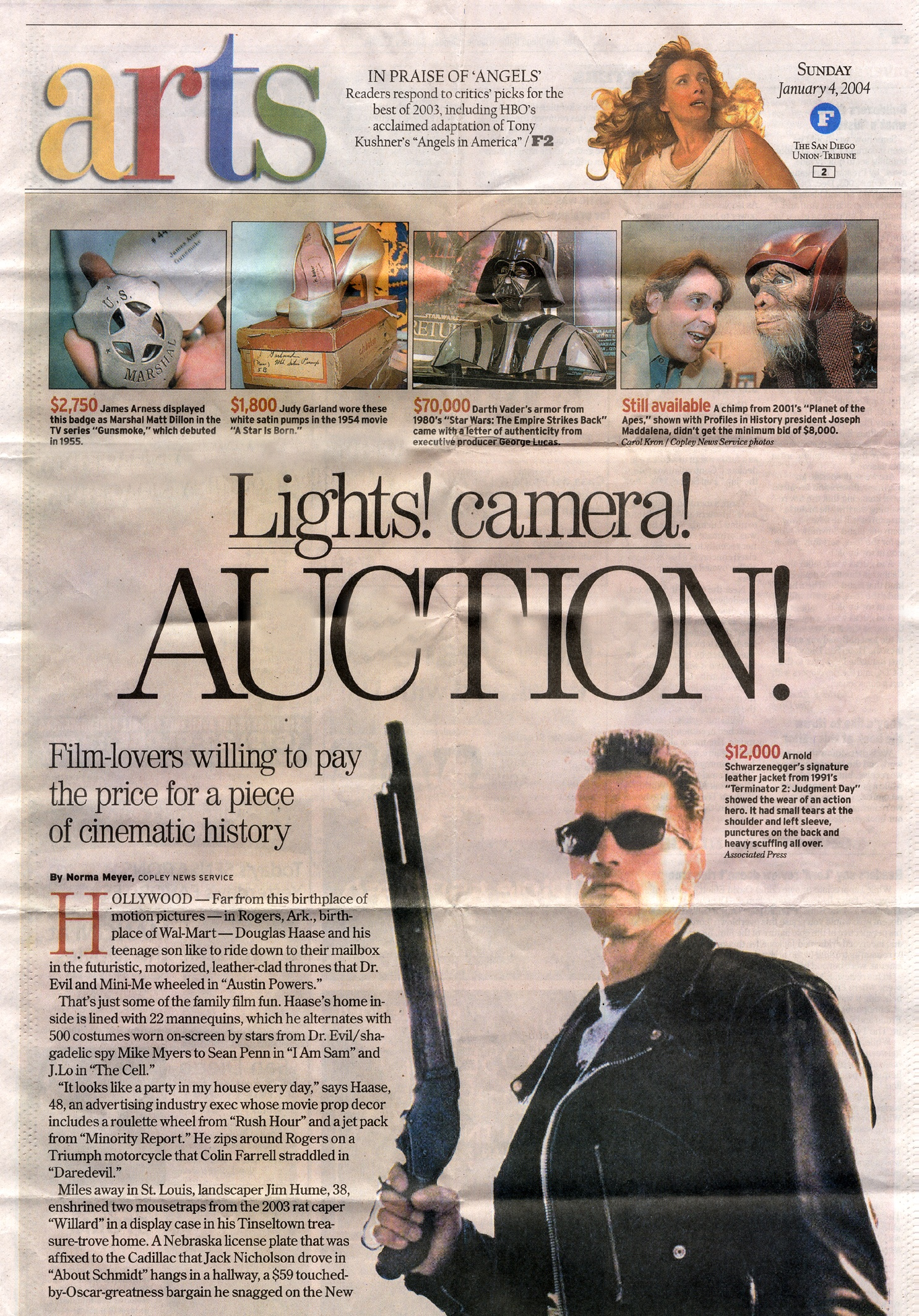 ARTS magazine article Lights Camera Auction, film lovers willing to pay the price for a piece of cinematic history