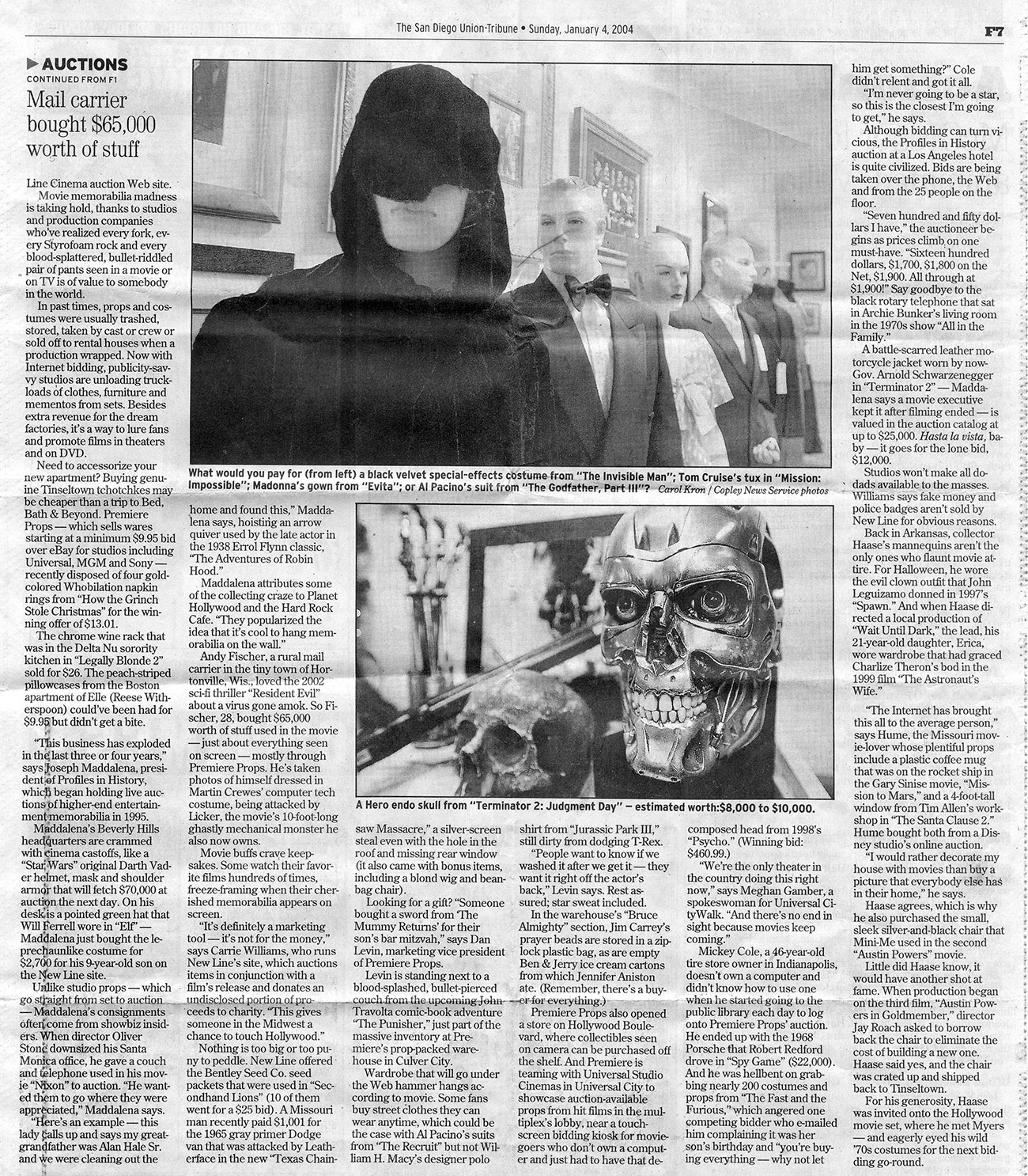 the san diego tribune newspaper article with black and white photo of terminator two robot