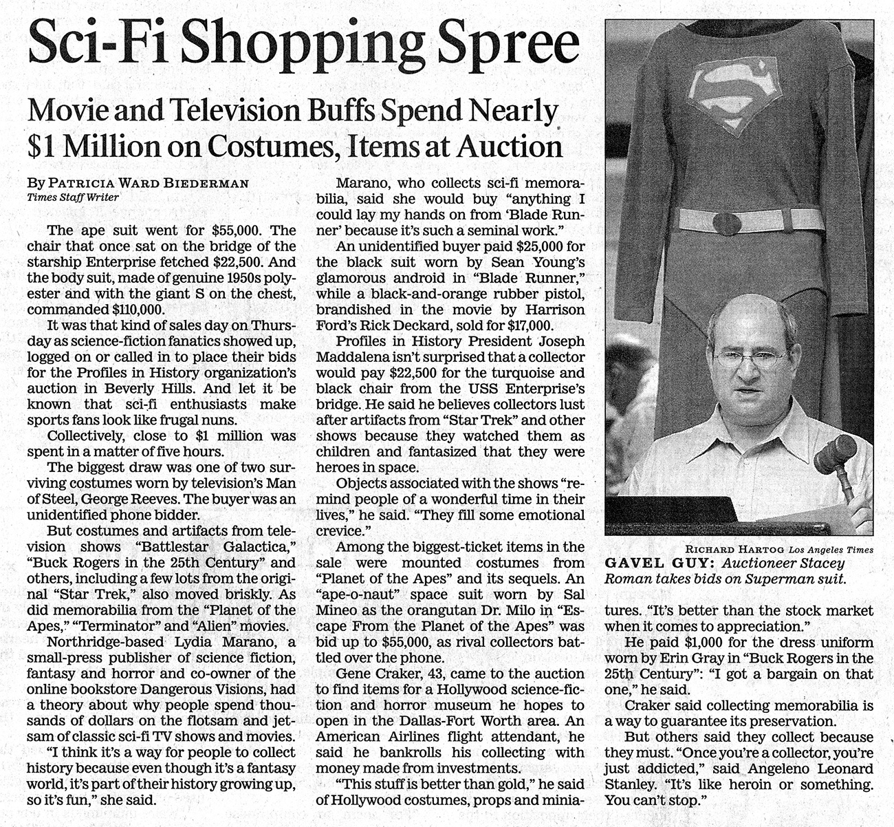 times auction, the sci-fi shopping spree article, movie and television buffs spend nearly $1 million on costumes item at auction