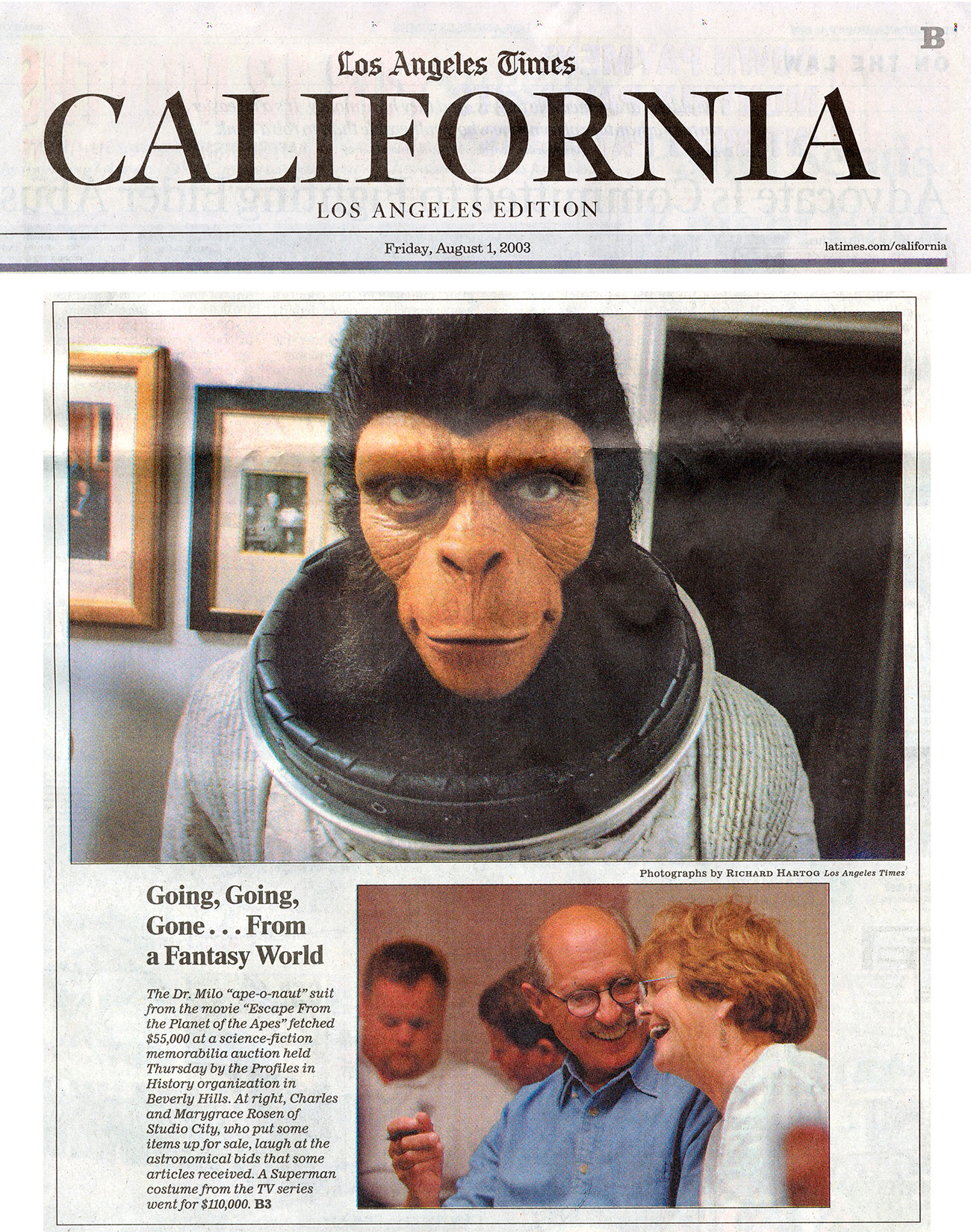 los angeles times cover, california going going gone from fantasy world, photo of ape on cover.