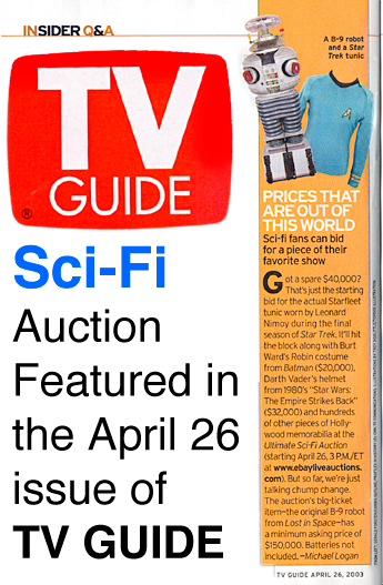 TV Guide about Sci Fi auction that was featured on April 26