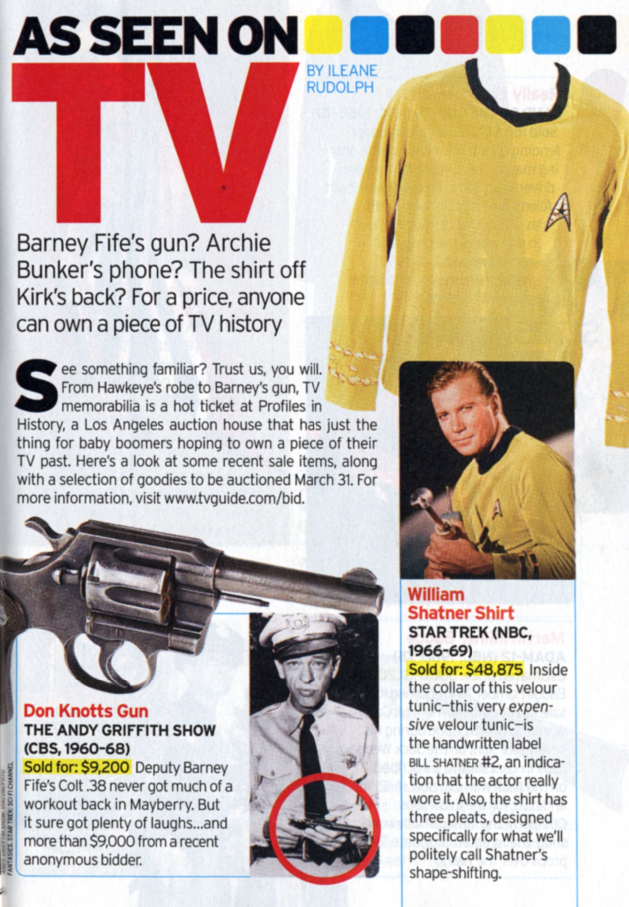 TV Guide article with Barney Fife's gun, Don Knotts Gun, William Shatner Shirt from Star Trek