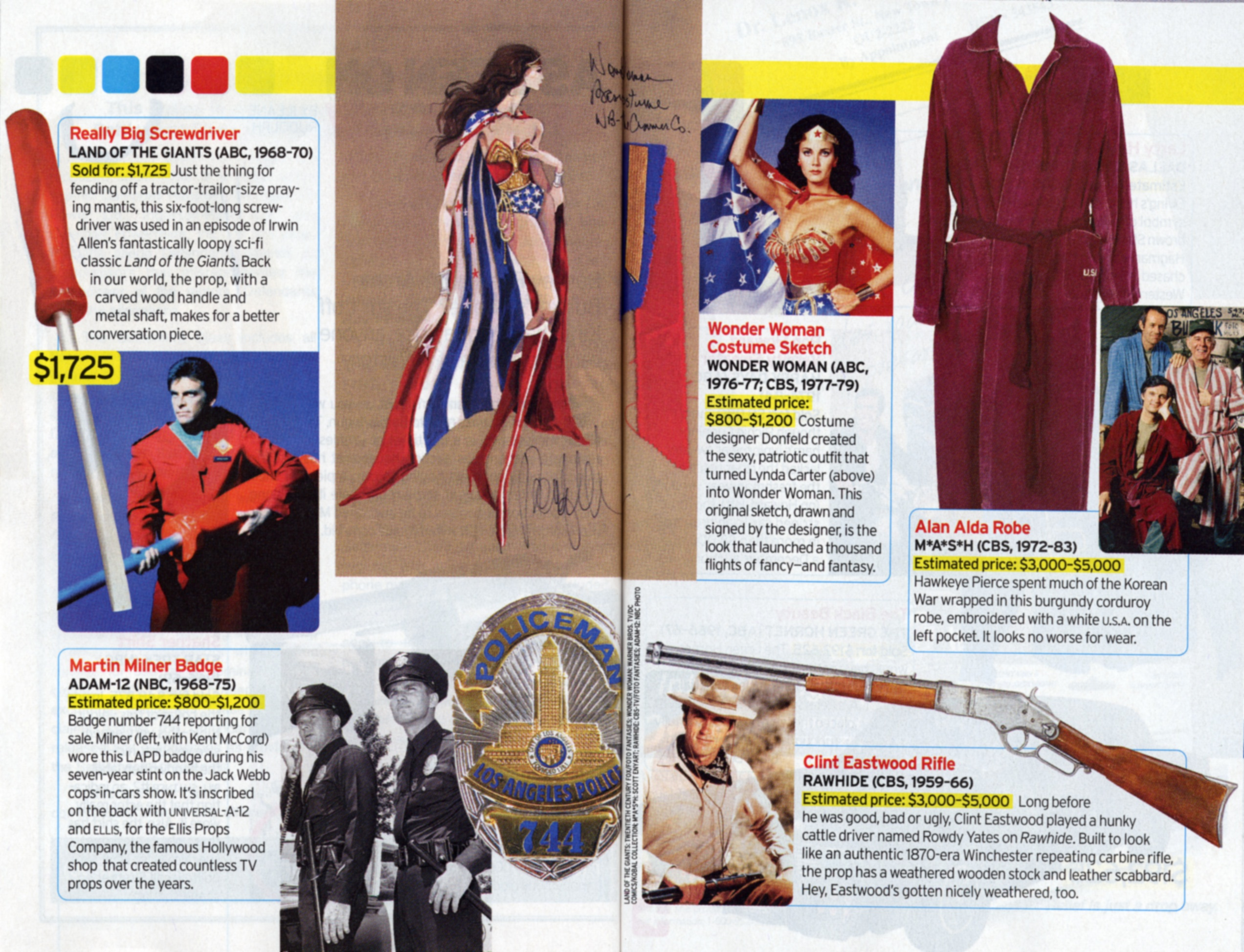 TV Guide article about Land of the Giants big screwdriver, wonder women's costume sketch, Clint Eastwood's rifle
