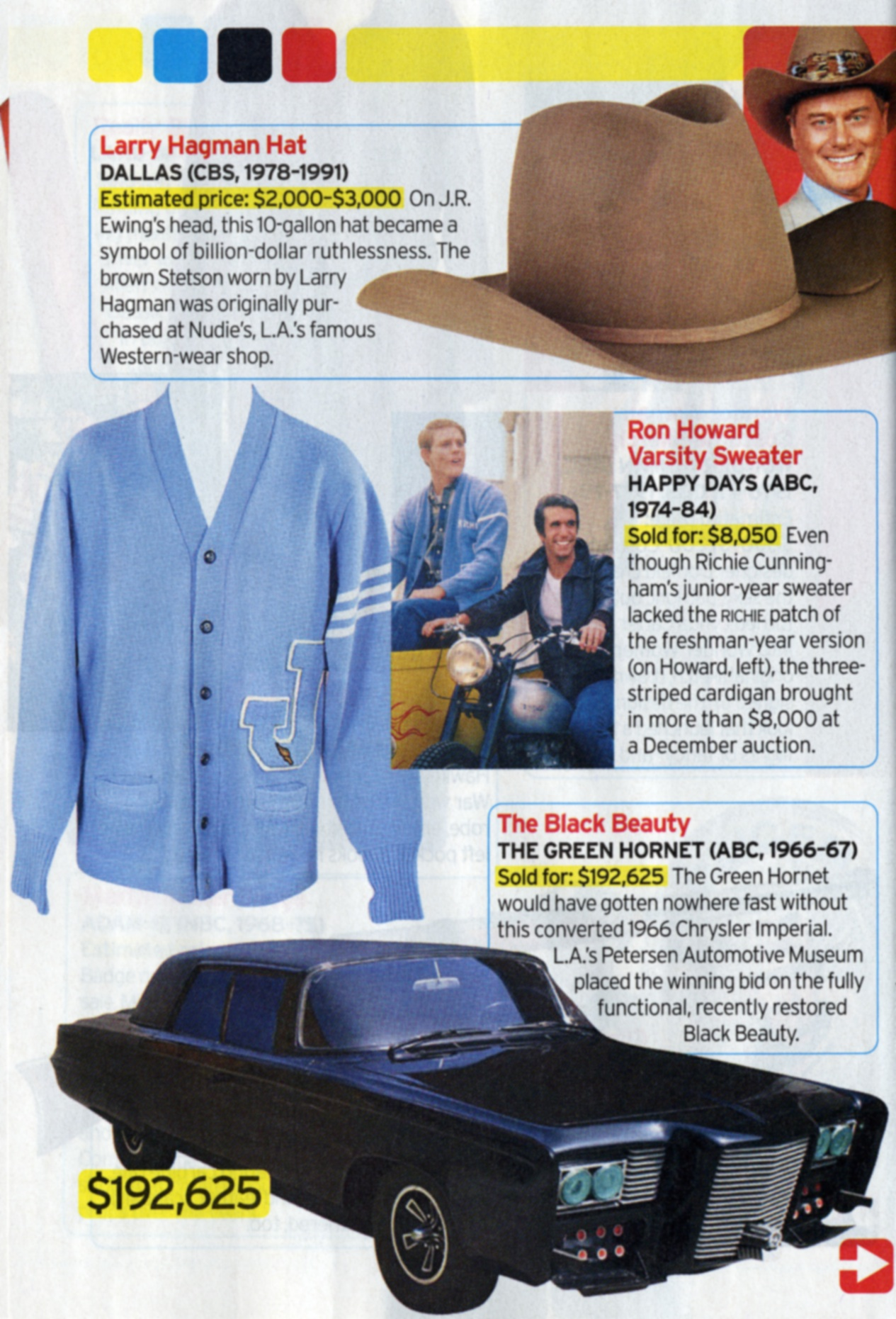 TV Guide article about Larry Hagman's Hat, Ron Howard's Varsity Sweater, and black beauty